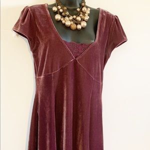 Frenchi Velvet with lace panel dress! Size L